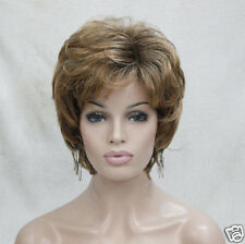 "light brown golden auburn mix 12"" short wavy elegant lady's synthetic hair wig"