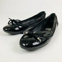 DIOR Womens Shoes Sz 8 Black Flats Shiny Slip On Bow Tie Front Round Tow No Heel