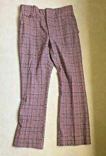 """Vintage 1960 Plaid Flare Wide Men's Pants Boyds check 36"""" W 41"""" L burgundy blue"""