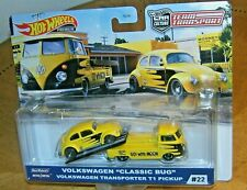 Hot Wheels Team Transport VW Volkswagen Classic Bug & T1 Pickup Yellow NEW  MOC