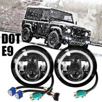 "2pcs 7""  LED Headlights Hi/Lo + Turn Beam E-mark for Land Rover Defender 90 110"