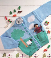 "Baby Children Farmer Toy & Sheep Cardigan 20"" 26""/ 1-7 years DK Knitting Pattern"