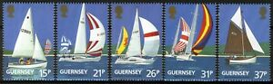 Guernsey 1991, Sailboats, 100th anniv Yacht Club set VF MNH, Mi 522-26 cat 5,5€