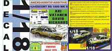 ANEXO DECAL 1/18 FORD ESCORT RS 1800 MK II ROTHMANS ARI VATANEN SWEDISH R. (01)