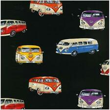Fat Quarter VW Camper Vans on Tour Camping Quilting Sewing Fabric Black