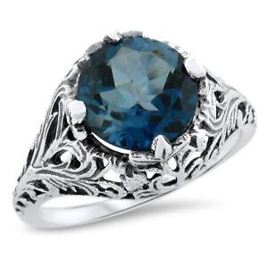 GENUINE LONDON BLUE TOPAZ FILIGREE .925 STERLING VINTAGE DESIGN RING,       #734