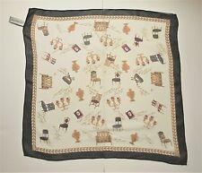 Vintage Print Liz Claiborne Very Light 100% Silk Square Scarf Cute Chair Print