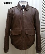 GUCCI leather jacket bomber coat brown aviator flight nr quilted lining XXL 2XL