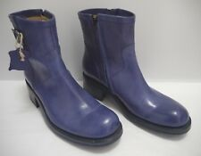 FREE LANCE purplish blue leather ankle moto biker boots size 39 WORN ONCE