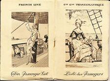 PARIS (FRENCH LINE) PASSENGER LIST 8 NOVEMBER 1924.