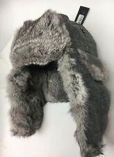 Bloomingdale's Men's Rabbit Fur Winter Bomber Hat, Grey Donegal Medium - NEW