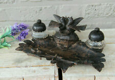 Antique black forest wood caved birds couple inkwell desk