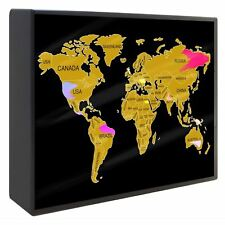 A4 LED Scratch Off World Map Light Up Box Different Colours