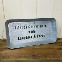 Country new FRIENDS GATHER HERE Large metal serving/decor tray with handles