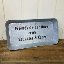 Country new distressed gray metal tray with handles/ Friends Gather Here/ nice
