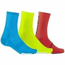 Giro Hrc Team (3-Pack) Socks Blue/Highlight Yellow/Vermillon Medium