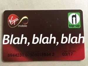 VIRGIN MOBILE TOP-UP CARD.  BLAH, BLAH,BLAH NO VALUE FREE UK POSTAGE