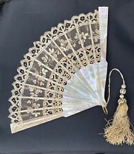 ANTIQUE MOTHER OF PEARL EMBROIDERED LACE WEDDING HAND FAN Tassel & Rhinestones!