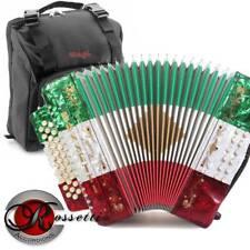 Rossetti 3112 GCF Sol 31 Button Diatonic Accordion - RED WHITE GREEN + Stagg Bag