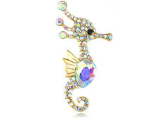 Colorful Gold Sliver Crystal Rhinestone Sea Horse Fashion Pin Brooch Jewelry