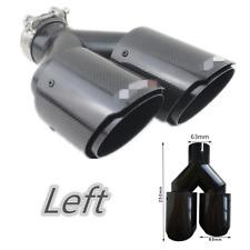"Full Black Steel+Carbon Fiber Exhaust Tip 2.5"" Left Car Dual Pipe Muffler Trim"