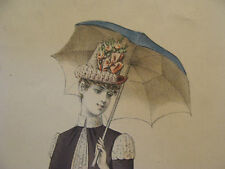 vintage PRINT:  LADY FASHION--from Ivan Pouillier Paris, torn on bottom & side