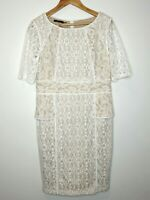 Events Cream Lace Pencil Evening Wedding Formal Dress Plus Size L 16 18