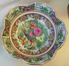 "Vintage Rose Medallion Bowl 9.5"" Hand Painted in Hong Kong"