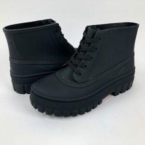 Jeffrey Campbell Platform Waterproof Chelsea Black Rubber Rain Boot Womens 7