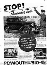 1935 Print Ad of Plymouth car being stopped by a police man