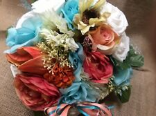Wedding flowers bridal bouquet decorations coral and ivory turquoise white
