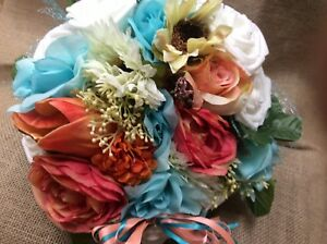 Wedding flowers bridal bouquet decorations coral and  turquoise white 7 bouquent