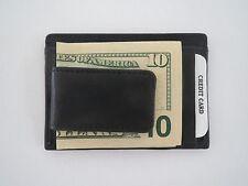 New Men's Genuine Leather Black Magnetic Money Clip Wallet ID Credit Card Holder