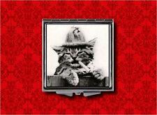 SMOKING CAT TOMCAT CIGARETTE BAD KITTY MAKEUP POCKET COMPACT MIRROR