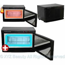 Black 2 in 1 Hot Towel Warmer Cabinet UV Sterilizer Spa Beauty Salon Equipment