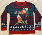 Kids Ugly Christmas Sweater Sharks Red Blue Green Long Sleeve Sz Med 10/12