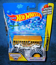 HOT WHEELS 2014 HIGHER EDUCATION SCHOOL BUS MONSTER JAM CHRISTMAS HOLIDAY SNOW