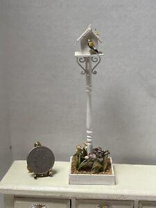 Vintage Artisan Pretty Bird House Stand Bird Butterfly Dollhouse Miniature 1:12