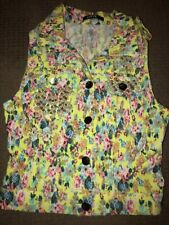 Bright Floral Pearl Jean Vest Small Yellow New Summer Fashion