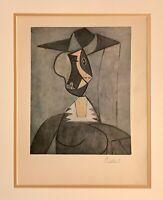 Hand signed Picasso 71 yr print from a 1949 portfolio; Chagall Dali contemporary