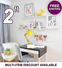 "24in ultraLEDGE White Metal Floating Shelf, Picture Ledge, Art Display 3.5"" deep"