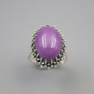 New S925 Sterling Silver Woman Ring Luck Sugilite Ellipse Ring US7 22mmW / Gift