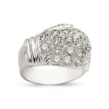 STERLING SILVER SOLID GENTS CUBIC ZIRCONIA CZ BOXING GLOVE RING BAND BOXED 15.0G