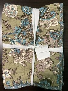 NEW Pottery Barn  Neena Floral Patchwork Cotton Standard Sham Blue Green Floral