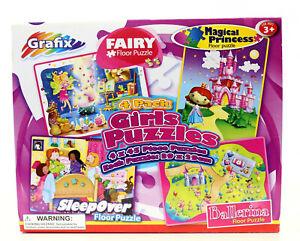 Girls 4 Pack Floor Puzzle Set -Magical Princess -Fairy -Ballerina -Sleepover New