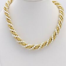 14k Gold Twisted Rope Link Freshwater Pearl Chain 20 Inch Necklace