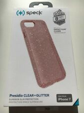 New Genuine Speck Presidio Clear Iphone 7 Case Rose Pink Gold Glitter B2101