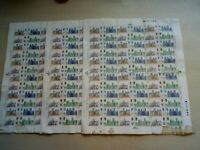 Three Full Sheets of the 1968-70 British Cathedrals 5d Stamps About 10% Damaged