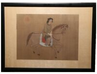 ANTIQUE ASIAN CHINESE EQUESTRIAN PORTRAIT OF WOMAN ON HORSEBACK WATERCOLOR SILK