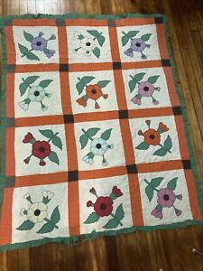 Pretty Vintage Applique Quilt. Poppy Flower Antique Hand Appliqued, Hand Quilted
